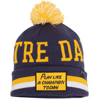 Men's Under Armour Navy/Gold Notre Dame Fighting Irish Play Like A Champion Performance Cuffed Knit Hat with Pom