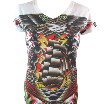 Siren Colorful Old School Tattoo Mermaids & Ship Tattoo Art V neck Tee