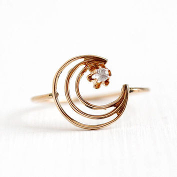 Crescent Moon Ring - Antique 10k Yellow Gold Genuine White Sapphire Star Motif - Vintage Size 7 Stick Pin Conversion Gemstone Fine Jewelry