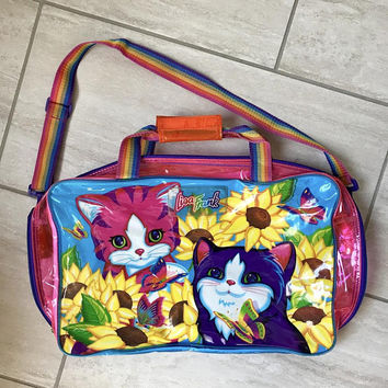 Vintage 1990s Lisa Frank Bright Psychedelic Sunflower Pink Purple Kitten Print Overnight Bag