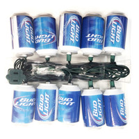 Kurt Adler 10-Light Bud Light Beer Can New Logo Light Set