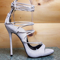 Mista Demon Strappy Lace Up High Heel Shoe 5.5-10 Nude Fx Suede