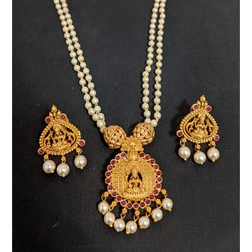 Dual stranded pearl chain necklace with Goddess Lakshmi Pendant and stud earring set - Matte gold finish