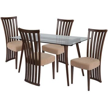 Lakewood 5 Piece Walnut Wood Dining Table Set with Glass Top and Dramatic Rail Back Design Wood Dining Chairs - Padded Seats