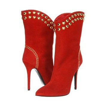 Love Lost Red Suede Boots