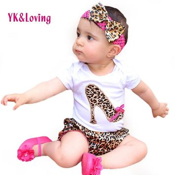 Baby Girl Set Cotton Short Sleeve Bodysuit Leopard Bloomers Shorts Headband Newborn clothes Kids Girl Clothes Sets