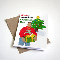 Rockin Around the Christmas Tree - Funny Christmas Card - Funny Greeting Card - The Rock - Seasons Greetings -  4.5X6.25 Inch card