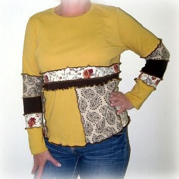 Upcycled Top, OOAK Boho Top, Patchwork Top, Eco Friendly Hippie Shirt, 100% Handmade,