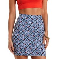 Blue Combo Medallion Print Bodycon Mini Skirt by Charlotte Russe