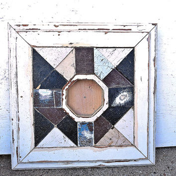 Reclaimed Wood Mirror, Framed Wood Mosaic Mirror, Octagonal Mirror, Accent Mirror, Salvaged Wood Art, Wood Wall Mirror, Distressed Mirror