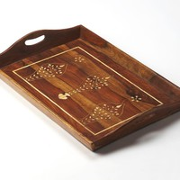 Buona Traditional Rectangular Bone Inlay Serving Tray Medium Brown