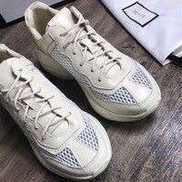 GUCCI Rhyton Leather Mesh Sneaker