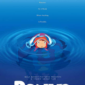 Ponyo on the Cliff by the Sea 27x40 Movie Poster (2008)