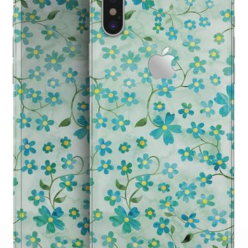 Flowers with Stems over Light Green Watercolor - iPhone X Skin-Kit