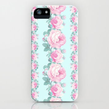 Cottage chic Roses floral pattern iPhone & iPod Case by Mercedes