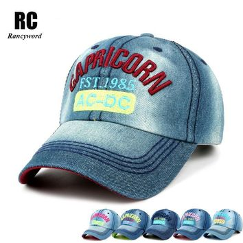[Rancyword] Hot Sale Summer Hats For Women Washed Denim Sun Letter Visor Baseball Caps