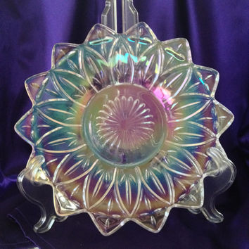 Iridescent Petal Dessert Plate, Bon Bons, Cake, Brownies, Vintage Federal Glass 1960s Rainbow Carnival Glass, Elegant Serving or Dislay