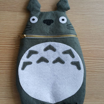 Totoro Zip Purse, Makeup Bag, Coin Purse, Small Accessory Pouch, FREE SHİPPİNG,Hayao Miyazaki, Studio Ghibli, Japan Comic , GİFT her him