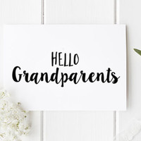 Hello Grandparents Pregnancy Announcement Card for Parents