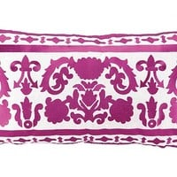 Lily 14x26 Embroidered Pillow, Fuchsia, Decorative Pillows