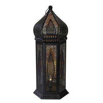 """21.25"""" Black and Gold Moroccan Style Cut-Out Table Lantern Lamp"""