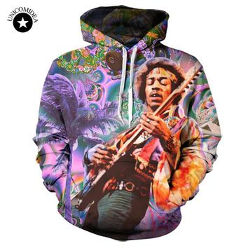 Unicomidea Hoodies 3D Jimi Hendrix Hoody Men/Women Sweatshirts Custom Made Rock And Roll