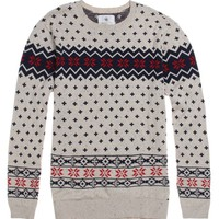 On The Byas Lester Engineered Print Sweater - Mens Sweater - Brown