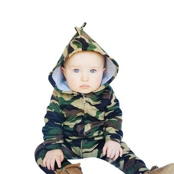 Baby Kids Boys Girls Infant summer clothes Hooded Zipper long sleeve Romper cotton casual Camouflage Jumpsuit one pieces