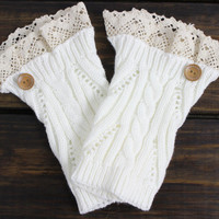 Lace Boot Cuff, Women's Boot Cuffs, Knit Leg Warmers, Lace Boot Socks, Boot Cuffs, Button Boot Cuffs, Boot Toppers, Button Up, Lace, Knit