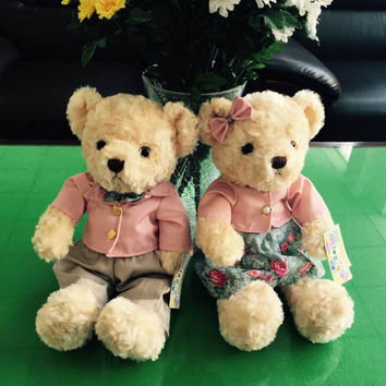 New plush Valentines Day couple giant teddy bear stuffed small  toys with casual shirts and pants  kids pelucia toy