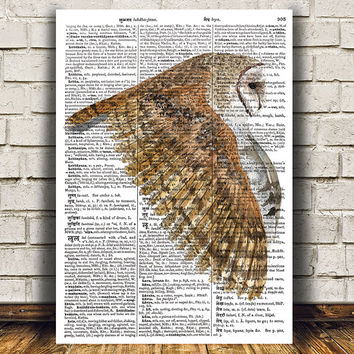 Barn owl decor Animal print Bird poster Dictionary print RTA1388
