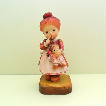 Club Anri Figurine I'll Never Tell No 13 Valentine with Box 1989 Woodcarving Girl Dolly Shushing Collectible Wood Doll Italy
