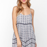 Beach Cruiser Blue Print Shift Dress