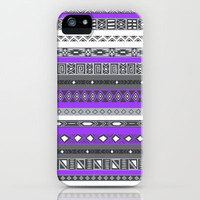 Electric Purple Black & White Aztec Pattern iPhone Case iPhone & iPod Case by RexLambo