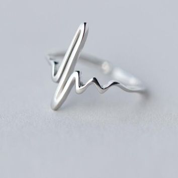 Shuangshuo Vintage Heart Beat Rings for Women Adjustable Electrocardiogram Ring Simple ECG Party Fashion Jewelry bagues femme