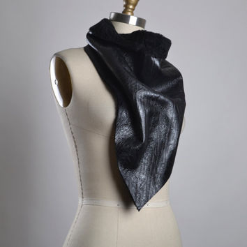 OOAK Leather Scarf - Black Leather Scarf - Leather Scarf - Women's Scarves - Leather Accessories