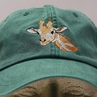GIRAFFE HAT - One Embroidered Wildlife Cap - Price Embroidery Apparel - 24 Color Caps Available