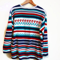 Vintage Boho sweater SOUTHWEST clothing oversized sweater striped tunic 1980s tribal print shirt womens LARGE