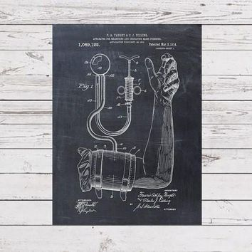 Patent Print of a Sphygmomanometer From 1914 - Patent Art Print - Patent Poster - Doctor Office - Doctor Art - Physician Art - Nurse Student