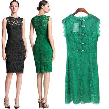 New Fashion Lace Sexy Temperament Bow Dress