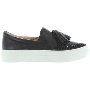 J Slides Aztec - Black Leather Tassel Slip-On Platform Sneaker