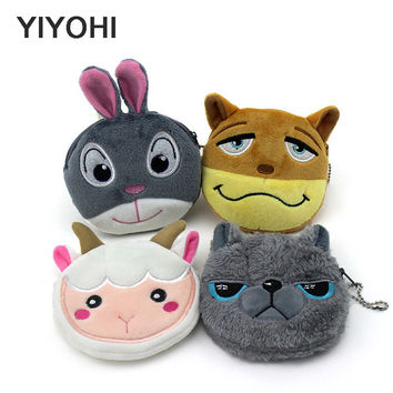 YIYOHI 11cm*10cm Cute Style Crazy Animals Zipper Plush Coin Purse Kawaii Children Coin Purse  Women Wallets  Mini Handbag