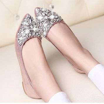new women Ballet leisure autumn Moccasins pointy fashion ballerina Rhinestone drill shiny flats loafers shoes princess Crystal
