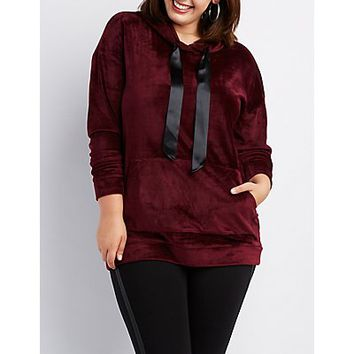 Plus Size Velvet Hooded Sweater Dress | Charlotte Russe