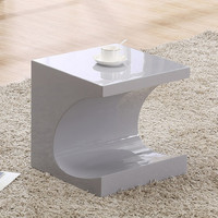 J&M Furniture Modern End Table Anvil in Grey High Gloss