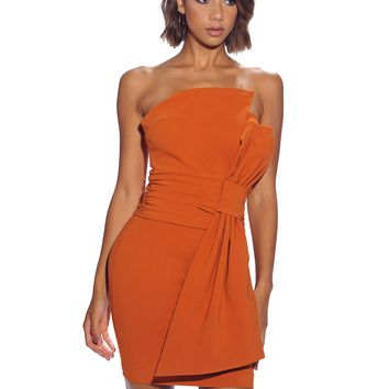 Noemi Strapless Fold Bow Front Rust Orange Stretch Crepe Dress