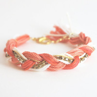 Coral braided bracelet, orange friendship bracelet with rhinestones