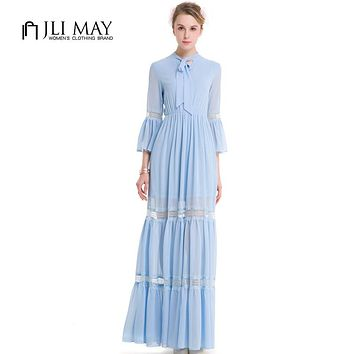 JLI MAY women Chiffon long maxi dress party evening elegant Vintage casual plus size Hollow out Butterfly Sleeve A-Line Autumn