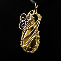 Tiger Eye Tear Drop Encased in Brass Wire Weaving/Wrapping Cage