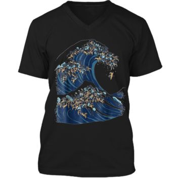 The Great Wave of Pugs Funny T-  by Huebucket Mens Printed V-Neck T